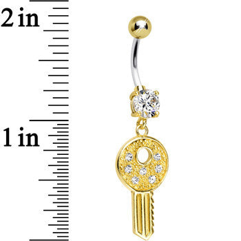 925 Sterling Silver Gold Plated Clear Gem Car Key Dangle Belly Ring