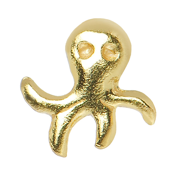 22 Gauge 925 Sterling Silver Gold Plated Aquatic Octopus Nose Screw
