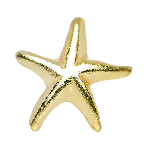 22 Gauge 925 Sterling Silver Gold Plated Ocean Starfish Nose Bone