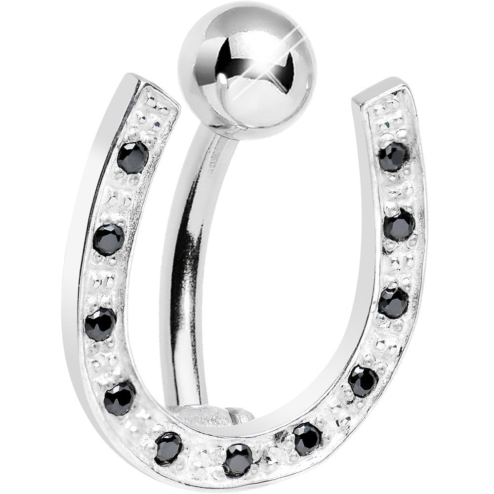 925 Sterling Silver Black Gem Hinged Horseshoe Belly Ring