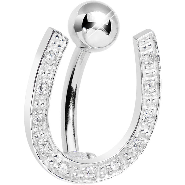 925 Sterling Silver Clear Gem Hinged Horseshoe Belly Ring