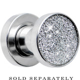 4 Gauge Stainless Steel Silver Sugar Glitter Screw Fit Plug