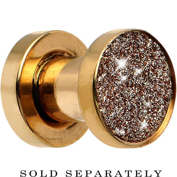 2 Gauge Rose Gold Anodized Titanium Rose Sugar Glitter Screw Fit Plug