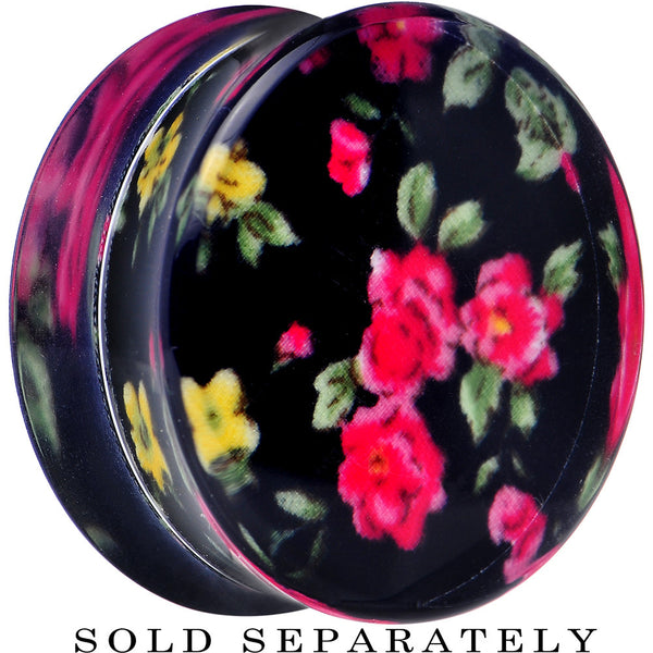 26mm Acrylic Black Multicolored Old Fashioned Flowers Saddle Plug
