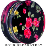 28mm Acrylic Black Multicolored Old Fashioned Flowers Saddle Plug
