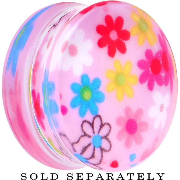 30mm Acrylic Pink Multicolored Flower Power Saddle Plug