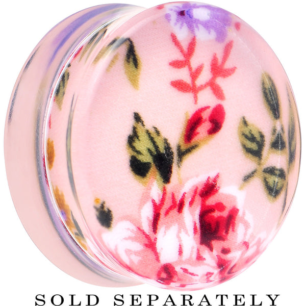 30mm Acrylic Pink Grandma's Wallpaper Flowered Saddle Plug