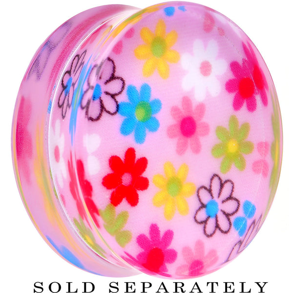 34mm Acrylic Pink Multicolored Flower Power Saddle Plug