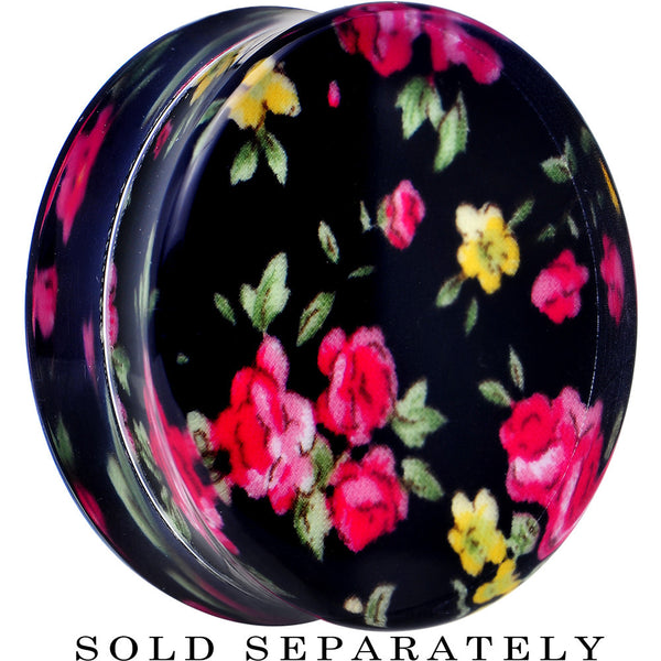 34mm Acrylic Black Multicolored Old Fashioned Flowers Saddle Plug