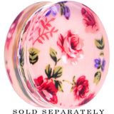 36mm Acrylic Pink Grandma's Wallpaper Flowered Saddle Plug