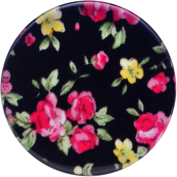 36mm Acrylic Black Multicolored Old Fashioned Flowers Saddle Plug