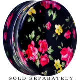 38mm Acrylic Black Multicolored Old Fashioned Flowers Saddle Plug