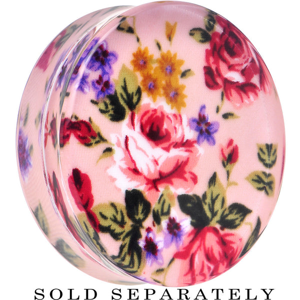 42mm Acrylic Pink Grandma's Wallpaper Flowered Saddle Plug