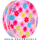44mm Acrylic Pink Multicolored Flower Power Saddle Plug