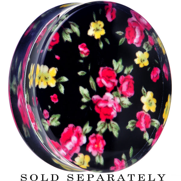 44mm Acrylic Black Multicolored Old Fashioned Flowers Saddle Plug