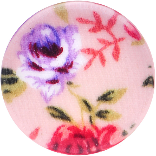 18mm Acrylic Pink Grandma's Wallpaper Flowered Saddle Plug