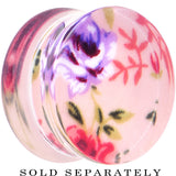 "5/8"" Acrylic Pink Grandma's Wallpaper Flowered Saddle Plug"