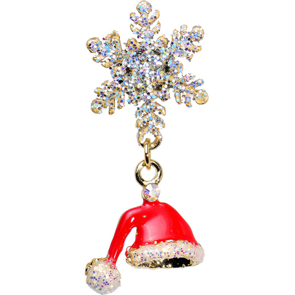 4 Gauge Snowflake and Santa Hat Christmas Single Flare Dangle Plug