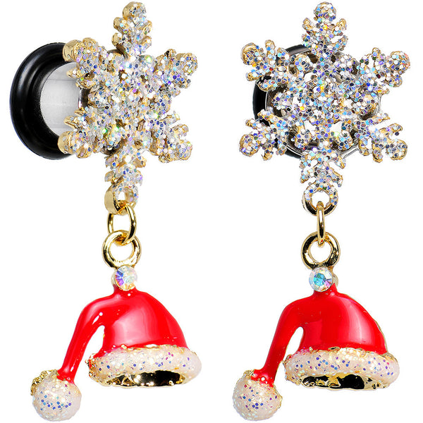 0 Gauge Clear Gem Snowflake Santa Hat Christmas Dangle Plug Set