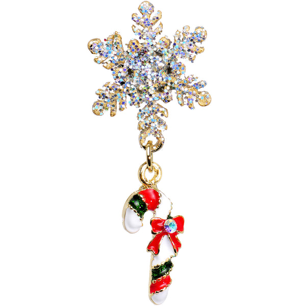 4 Gauge Snowflake and Candy Cane Christmas Single Flare Dangle Plug