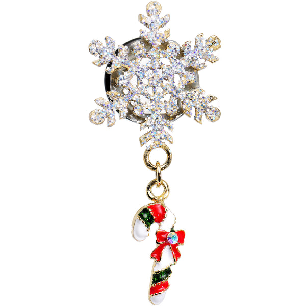 00 Gauge Snowflake and Candy Cane Christmas Single Flare Dangle Plug