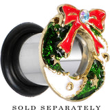 0 Gauge Festive Wreath Christmas Single Flare Plug