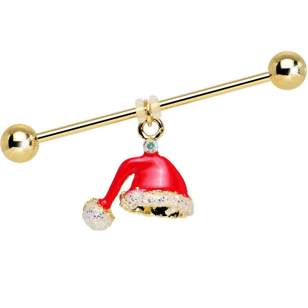 Santa Hat Christmas Dangle Industrial Barbell 38mm Bodycandy