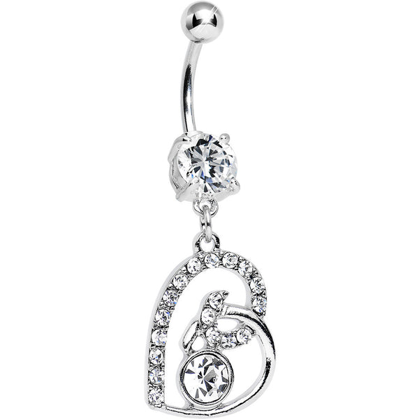 Clear Gem Bright Twisted by Love Heart Dangle Belly Ring