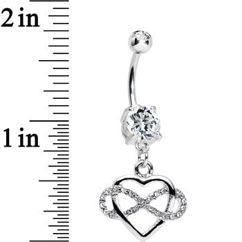 Clear Double CZ Infinite Love Infinity Heart Dangle Belly Ring
