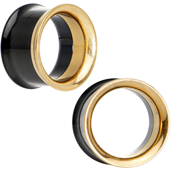 "5/8"" Black and Gold IP Stainless Steel Screw Fit Tunnel Plug Set"