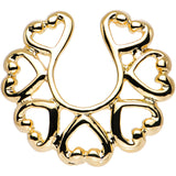 14KT Gold Plated Hooked on Hearts Clip On Nipple Ring Set