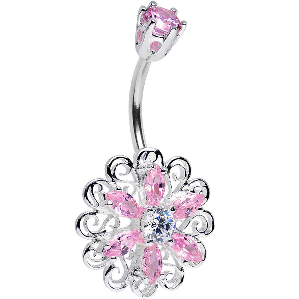 925 Sterling Silver Pink CZ Kaleidoscope Flower Belly Ring
