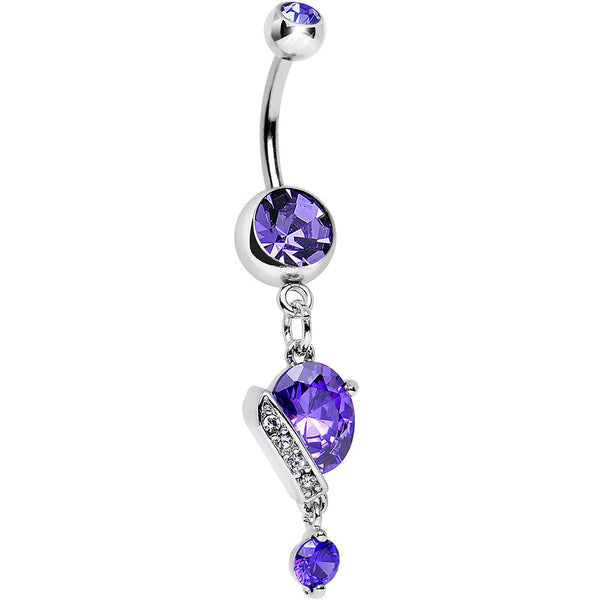 Purple Gem Crystal Tulip Bud Flower Drop Dangle Belly Ring