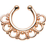 Rose Gold PVD Tribal Blossom Non-Pierced Clip On Septum Ring