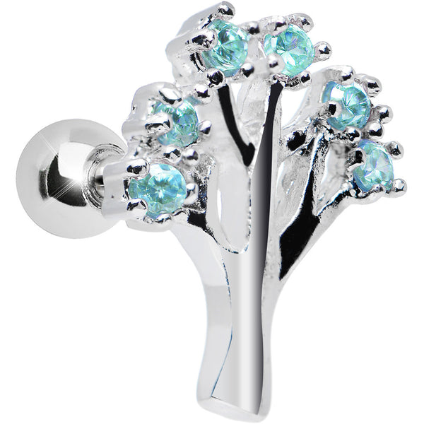 Aqua Gem Steadfast Strength Tree Tragus Cartilage Earring