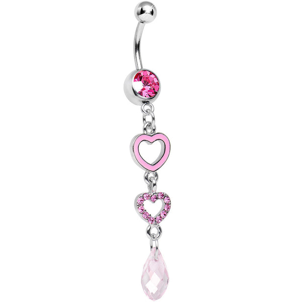 Pink Gem Crystal Love Multiplied Double Heart Dangle Belly Ring