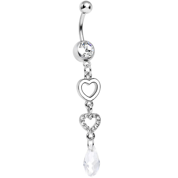 Clear Gem Crystal Love Multiplied Double Heart Dangle Belly Ring