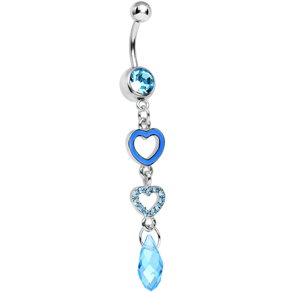 Aqua Gem Crystal Love Multiplied Double Heart Dangle Belly Ring