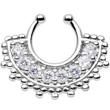 Clear Gem Tribal Queen Non-Pierced Clip On Septum Ring