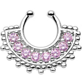 Pink Gem Tribal Queen Non-Pierced Clip On Septum Ring