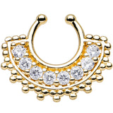 Clear Gem Gold PVD Tribal Queen Non-Pierced Clip On Septum Ring