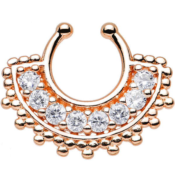 Clear Gem Rose Gold PVD Tribal Queen Non-Pierced Clip On Septum Ring