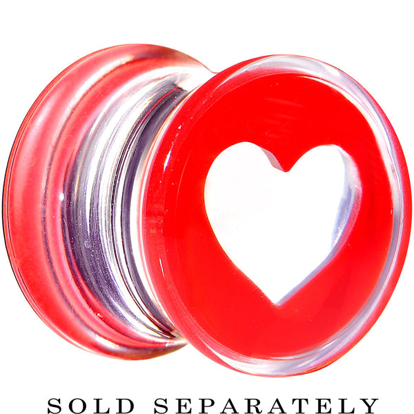 00 Gauge Clear Red Acrylic Adoring Heart Saddle Plug