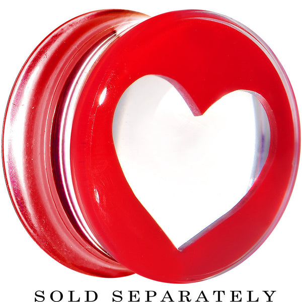"9/16"" Clear Red Acrylic Adoring Heart Saddle Plug"