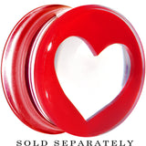 "5/8"" Clear Red Acrylic Adoring Heart Saddle Plug"