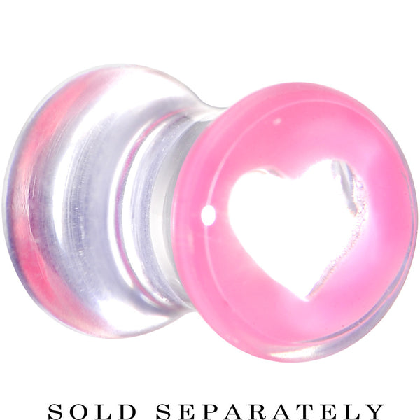 2 Gauge Clear Pink Acrylic Adoring Heart Saddle Plug