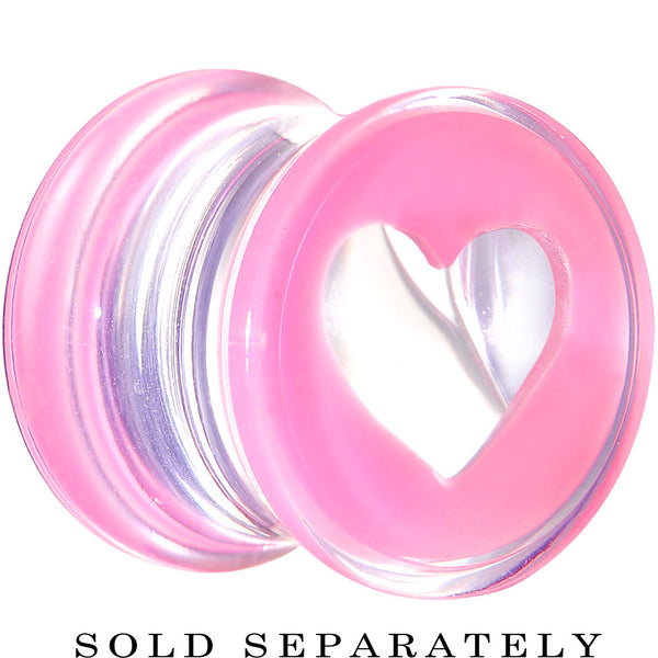 0 Gauge Clear Pink Acrylic Adoring Heart Saddle Plug