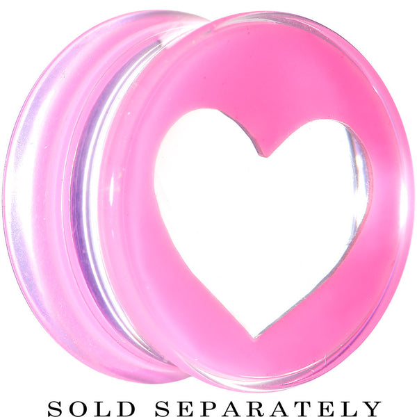 "9/16"" Clear Pink Acrylic Adoring Heart Saddle Plug"