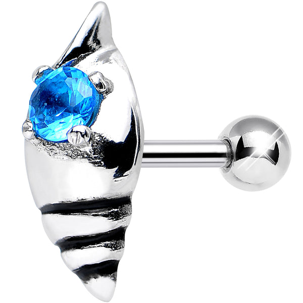 925 Sterling Silver Aqua Gem Glossy Seashell Tragus Cartilage Earring