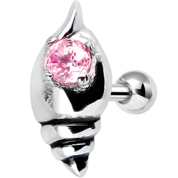 925 Sterling Silver Pink Gem Glossy Seashell Tragus Cartilage Earring